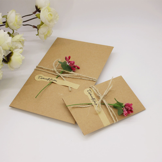 30pcs Lot Diy Handmade Present Card With Flower Wedding Inviting Simple Invitation Party