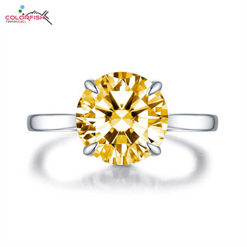 COLORFISH Classic Solitaire Engagement Ring Round Cut 4ct Yellow Zircon Fashion Jewelry Real 925 Sterling Silver Womens Rings engagement ring