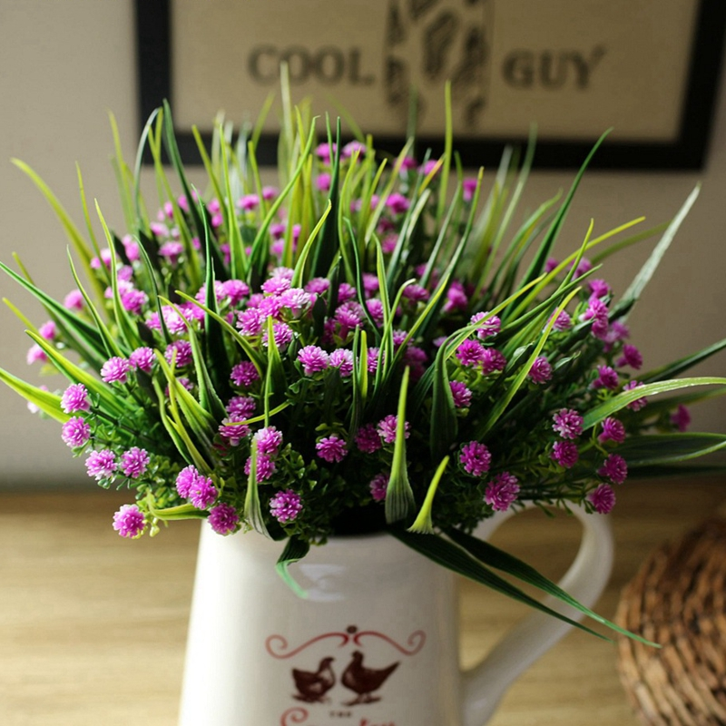 High Quality 6pcs Desktop Houseware Silk Flowers Artificial Fake Flower Simulation Little Lilac Posy Home Supplies Without Vase