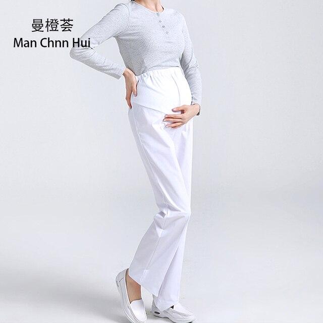 c3c3214d344 Hospital nurse maternity pants medical pink white elastic waist work pants  female doctor - pregnant women pants