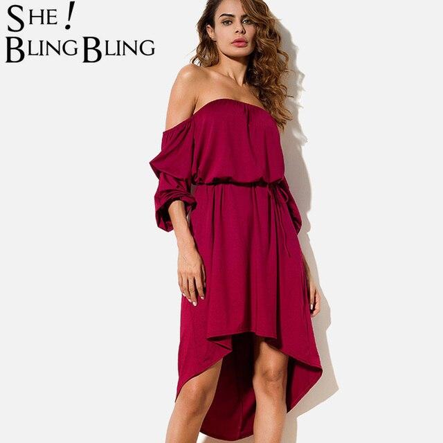 0aeb32d89f92 SheBlingBling Grathered Sleeve Cold Shoulder High Low Dress Women Midi Dress  Dip Hem Off Shoulder Dress Fashion Bardot Dress
