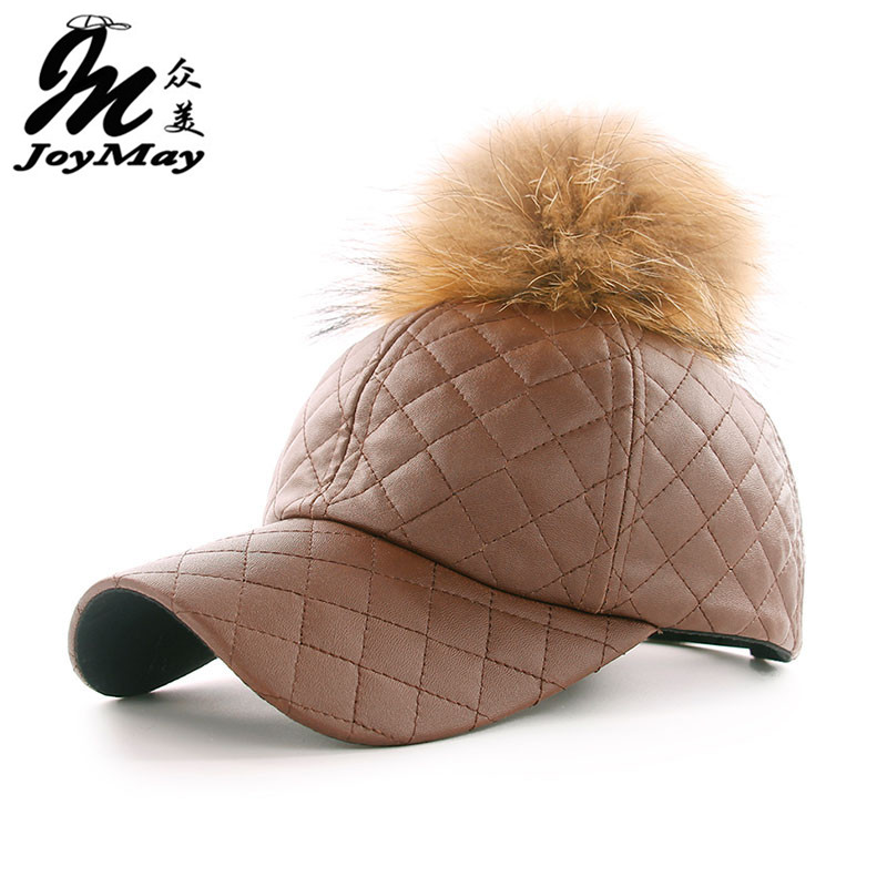 JOYMAY winter PU Leather Baseball Cap with Pom Pom Biker Trucker snapback  Hats For Men women WM044 8979a2bc2a7