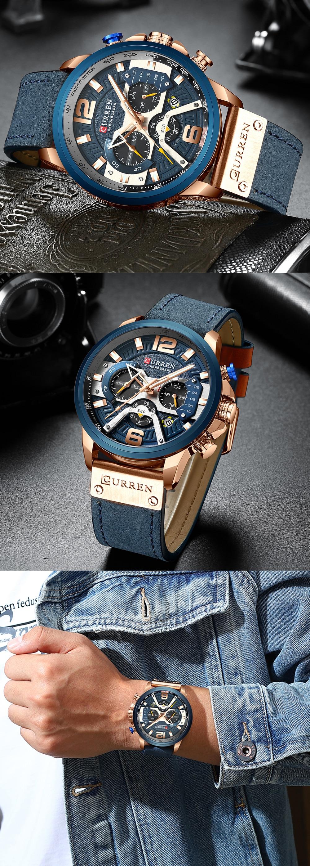HTB1SIh5KwHqK1RjSZFgq6y7JXXae CURREN Casual Sport Watches for Men Blue Top Brand Luxury Military Leather Wrist Watch Man Clock Fashion Chronograph Wristwatch