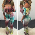 Hot Sales Tie Dye Flared Trousers High Waist Wide Leg Long Pants Trousers with Crop Top