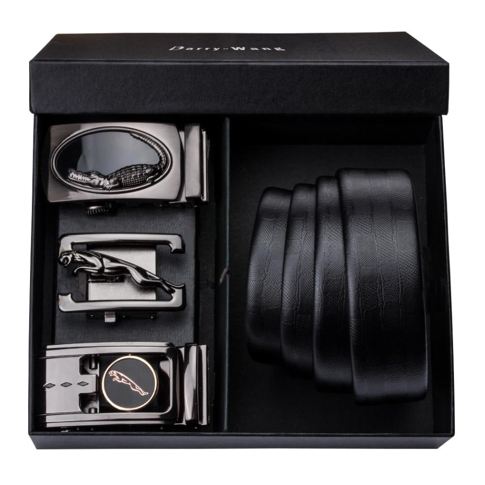 PT-0006 Barry.Wang Automatic Buckle Genuine Leather luxury Belts For Men 110cm-150cm Long Alloy Buckle Men's Belts Gift Box Sets