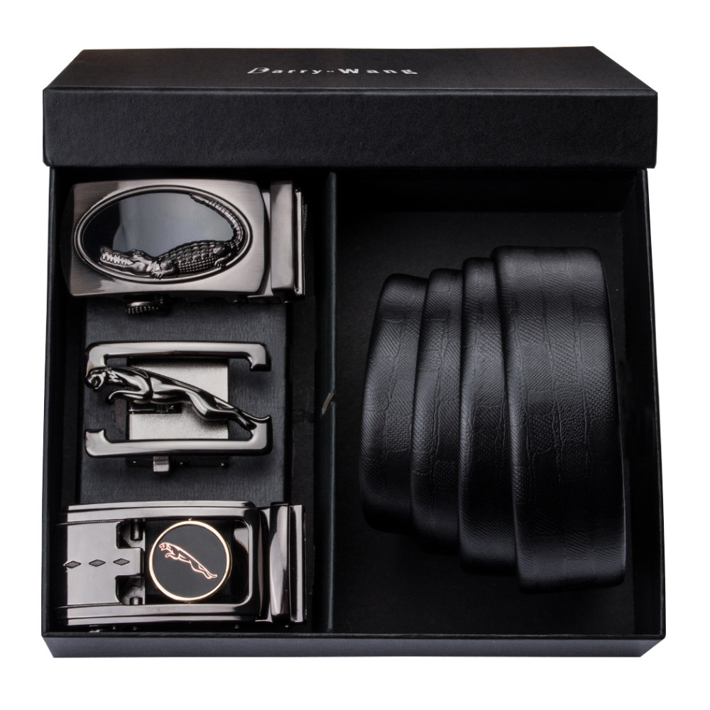 PT-0006 Barry.Wang Automatic Buckle Genuine Leather luxury   Belts   For Men 110cm-150cm Long Alloy Buckle Men's   Belts   Gift Box Sets