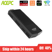 ACEPC T6 intel compute stick fanless 4GB 64GB 32GB mini pc Windows 10 licenced Intel Atom x5 Z8350 BT4.0/WiFi office soft