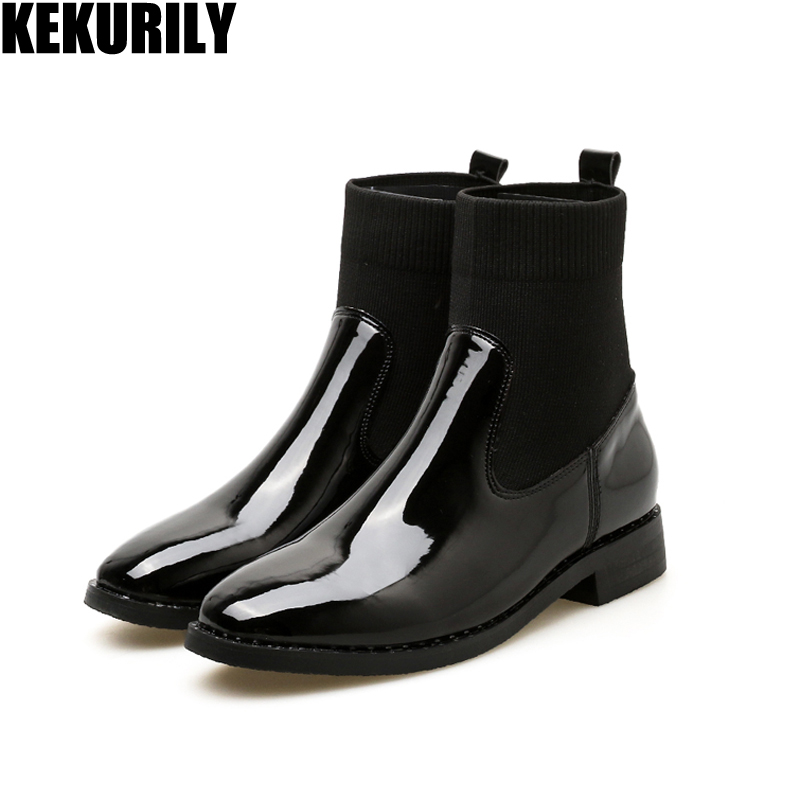 Woman Shoes fashion Patent leather Chelsea Boots Round toe luxury Boots chunky Heels Slip on sock boots Zapatos de mujer black free shipping zapatos de mujer 2017 casual chunky high heels round toe women woolen shoes luxury slip on sock chelsea boots