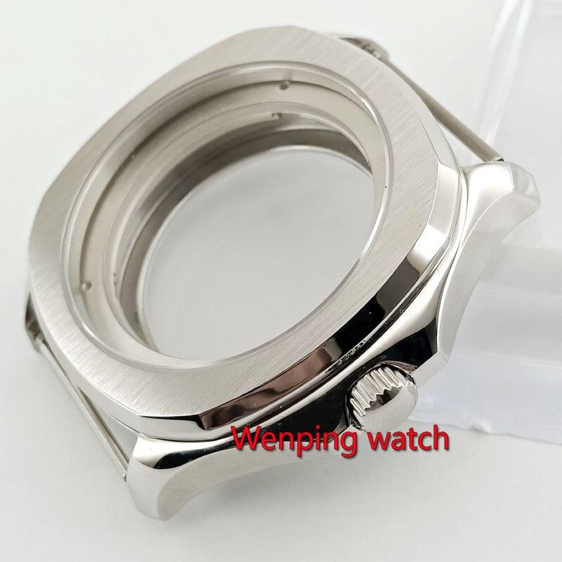 40mm Parnis Silver /golden Rose/ Black Sapphire Crystal Watch Case Fit ETA 2836 Miyota 8215 821A P912