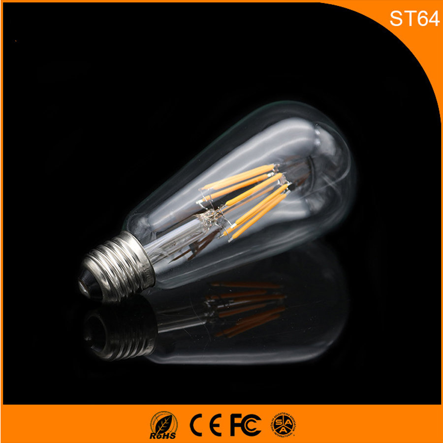 50PCS Retro Vintage Edison E27 B22 LED Bulb ,ST64 6W Led Filament Glass Light Lamp, Warm White Energy Saving Lamps Light AC220V retro lamp st64 vintage led edison e27 led bulb lamp 110 v 220 v 4 w filament glass lamp