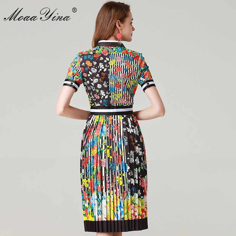 MoaaYina Fashion Designer Set Summer Women's Short sleeve Stripe Floral Print Elegant Shirt Tops+Half skirt Two-piece suit