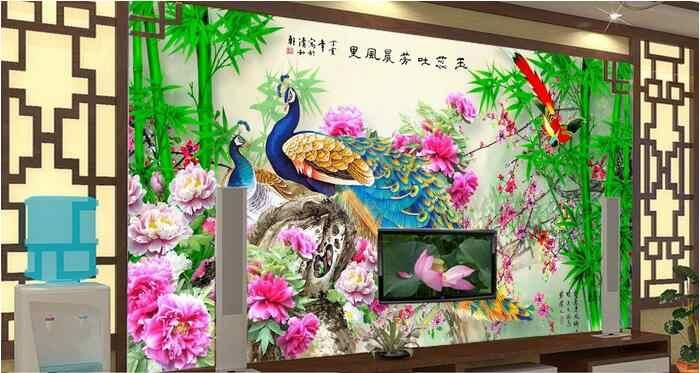 3d комнате обои на заказ росписи Нетканые стикер Павлин бамбука Цветы и птицы живопись фото обои
