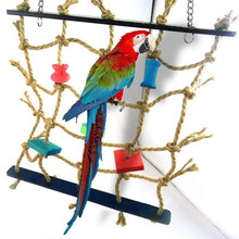 Acrylic Rope Net Swing Ladder Toy for Pet Parrot Birds Chew Play Climbing New(China)