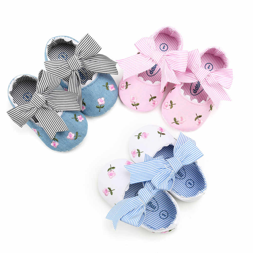 aby  Embroidery Flower Fashion  First Walkers Bow Princess Shoes Summer New Style Baby Girl Newborn Soft Toddler Shoes
