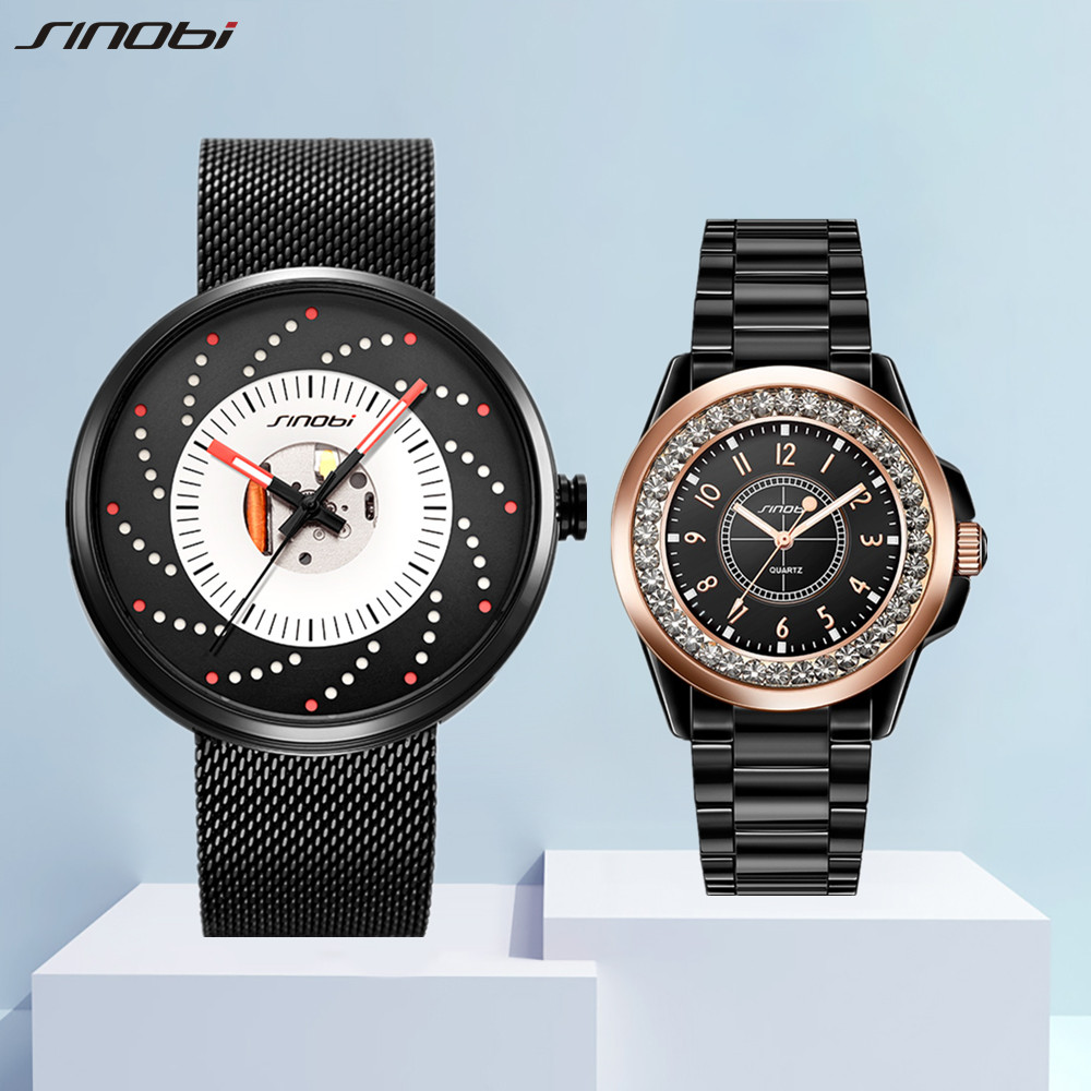 SINOBI Lover's Watches for Men and Women Fashion Quartz Wristwatch Creative Clock Couple Watch Gifts Set for Sale relogio