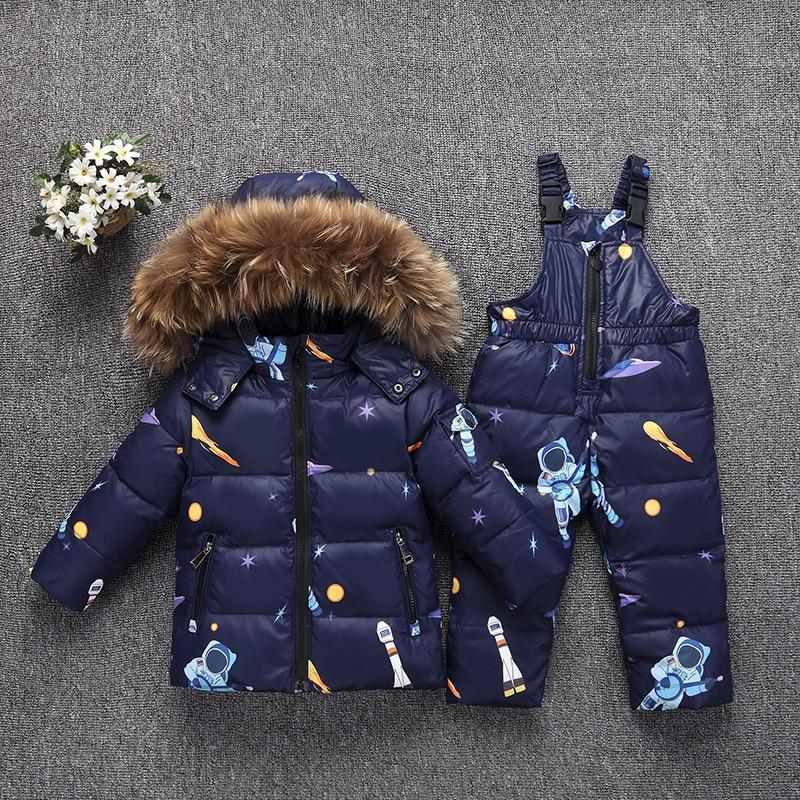 Комплекты одежды для маленьких мальчиков и девочек, Детский пуховик, зимний теплый костюм с капюшоном и натуральным мехом для новорожденны...