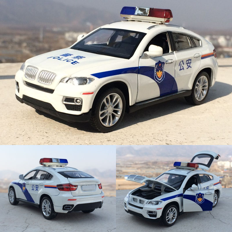 1:32 X6 Police Alloy Metal Car Toy Pull Back Flashing Music Diecast Coupe Model Car For Children Toys Free Shipping