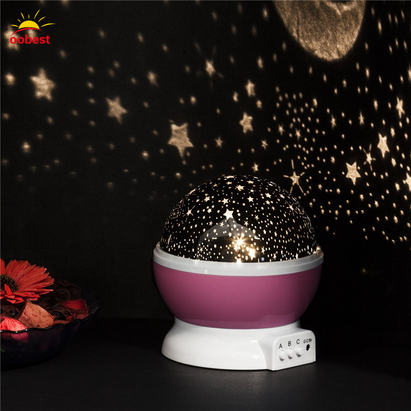 Oobest Creative Rotating LED Bulb Starry Sky Projector Night Light Color Changing Star Moon Sky Cosmos Atmosphere Lamp For Baby rotation starry star moon sky romantic night projector light lamp pink
