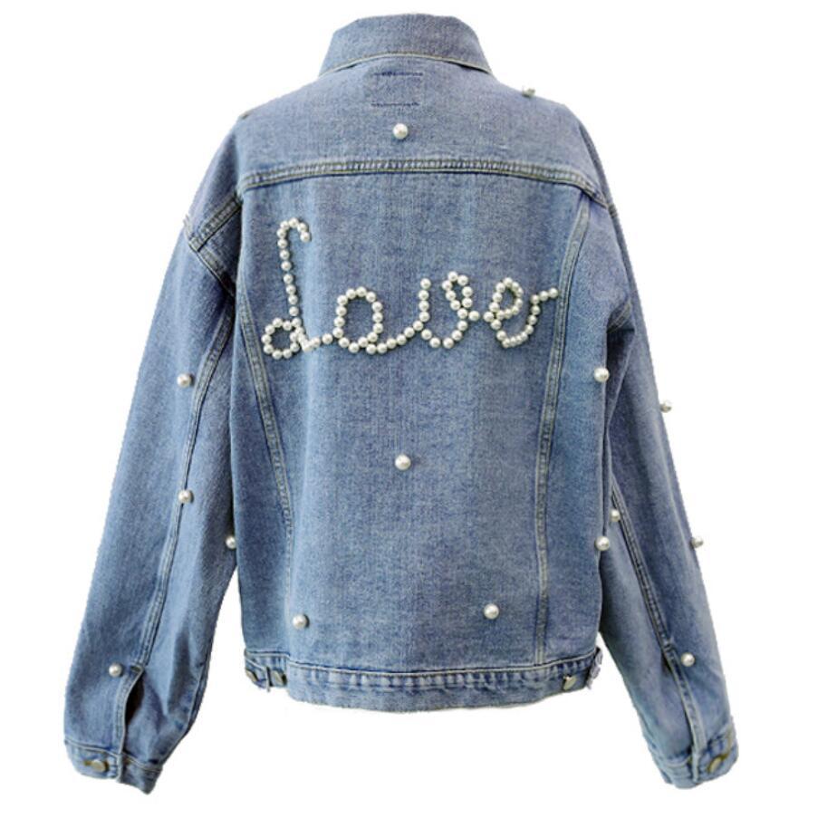 2018 Spring Autumn Women Basic Jacket Denim Jacket Pearls Beading Jeans Coat Loose Long Sleeve Jackets