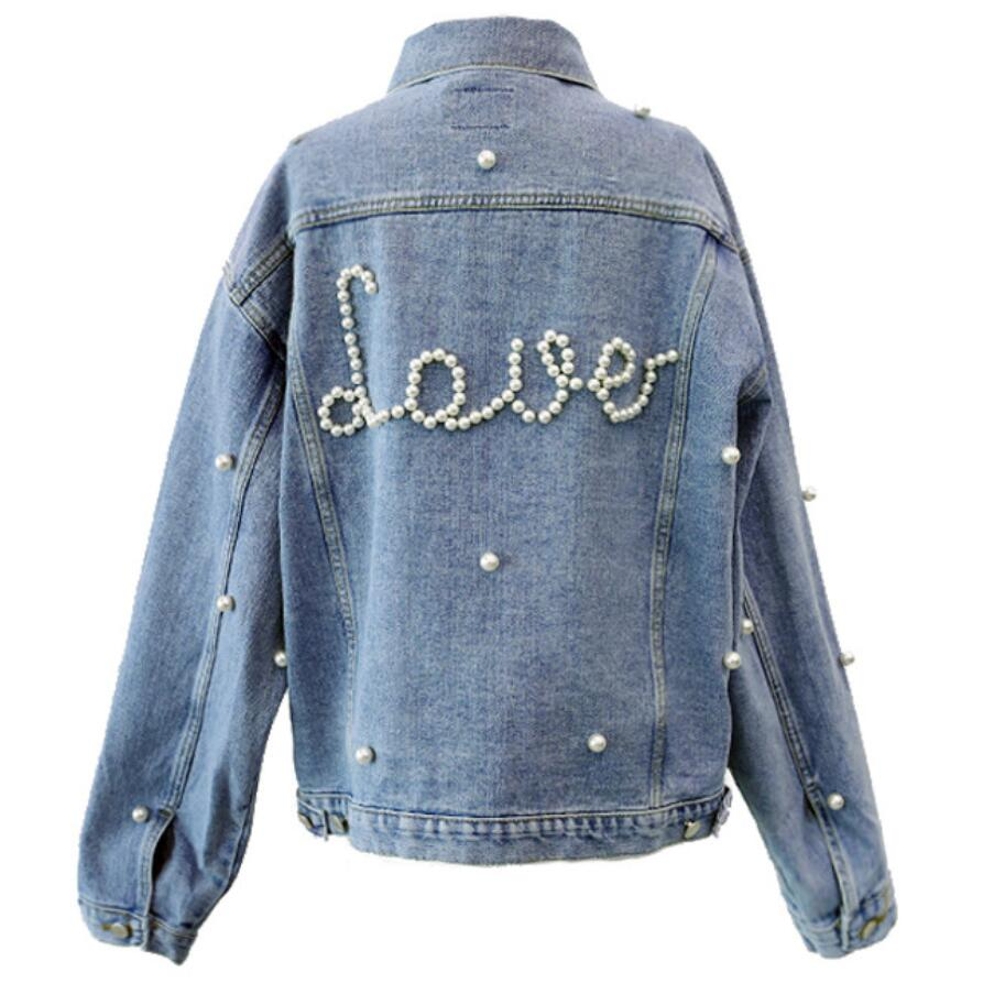 2018 Spring Autumn Women   Basic     Jacket   Denim   Jacket   Pearls Beading Jeans Coat Loose Long Sleeve   Jackets