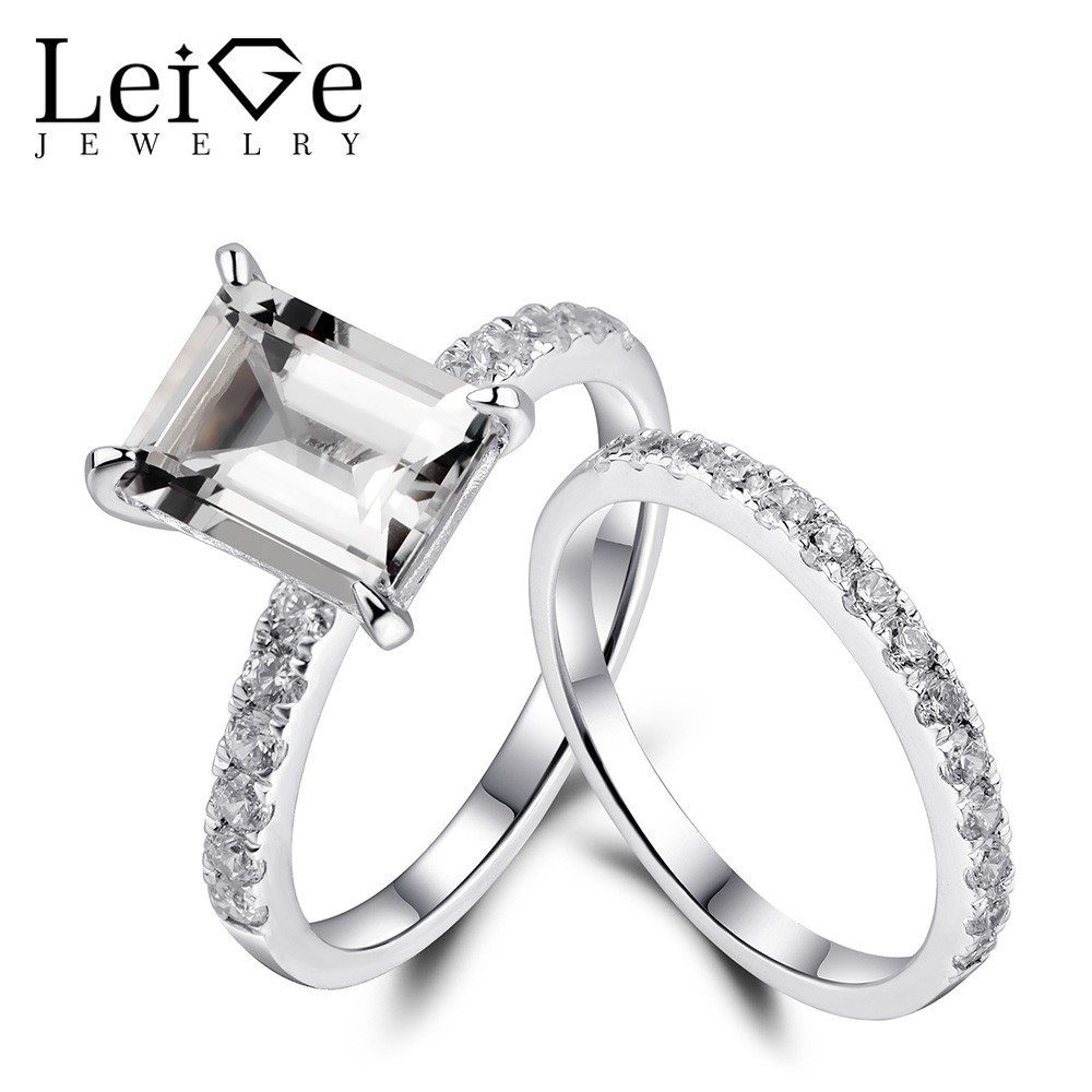 цена Leige Jewelry Engagement Rings Set 925 Sterling Silver White Topaz Ring Emerald Cut for Women Anniversary Gift Natural Gemstone