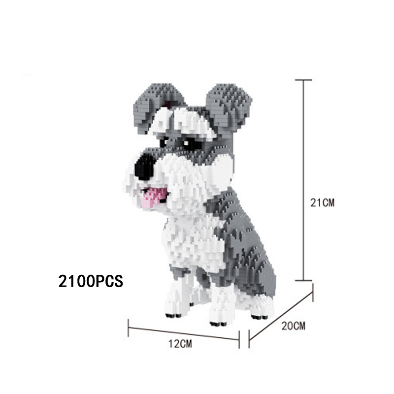 Creator pet dog model micro diamond building block Standard Schnauzer puppy nanoblock assemable bricks toys for kids gifts creator hot world famous city funland micro diamond building block castle nanoblock assemble model bricks toys collection gifts
