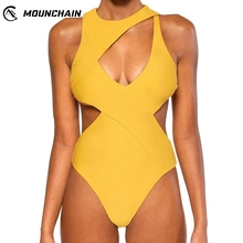 Women Sexy One Piece Swimsuit Solid Color Bikini with Chest Pad Zipper Back Swimming Suit Mounchain