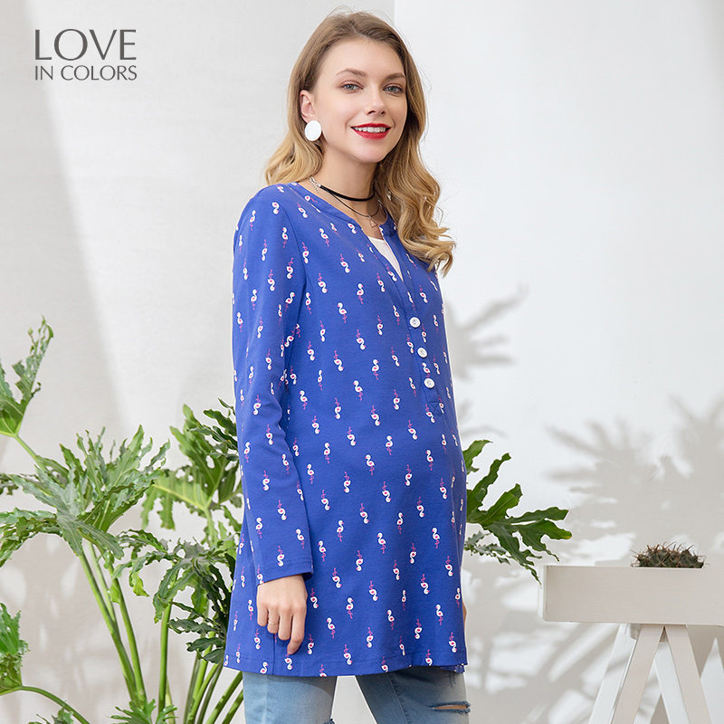 Loveincolors Maternity Women T-shirt Cotton Cartoon Birds Printing Feeding Mouth Nursing Soft Pregnant Clothes