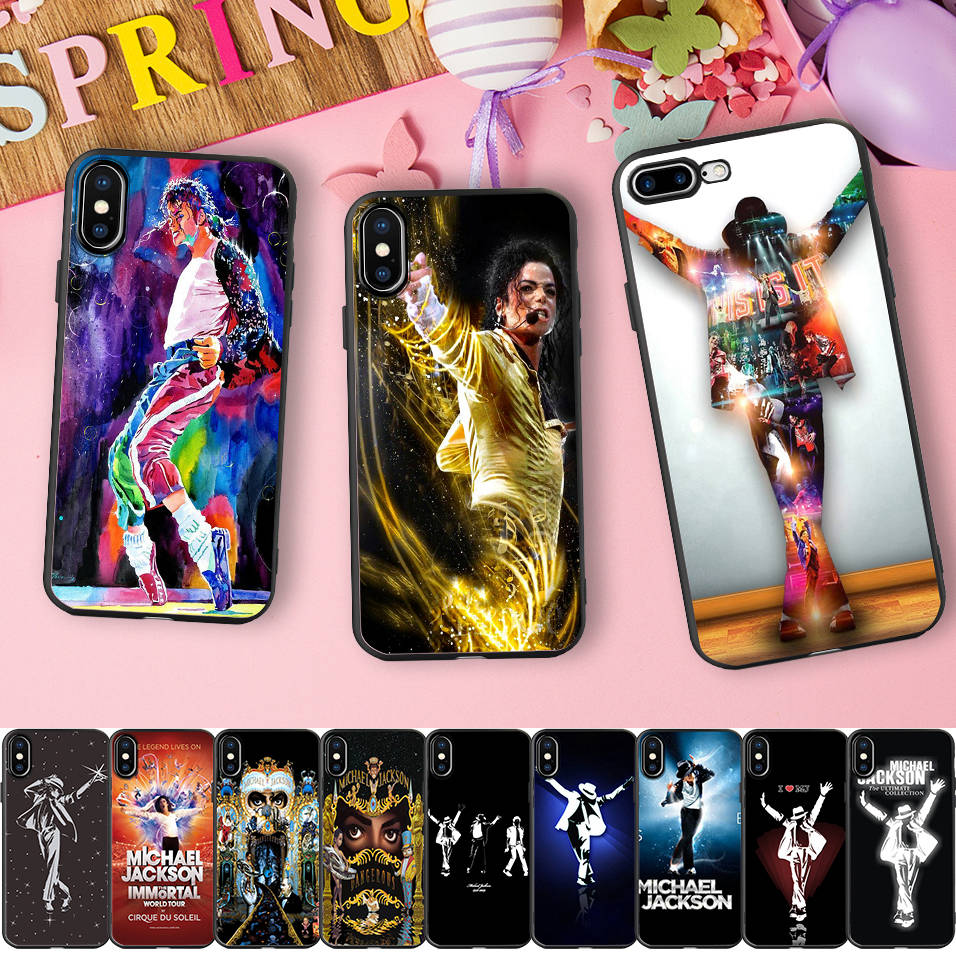 Minason Michael Jackson Photo Black Capa Soft Silicone Phone Case for iPhone X 5 S 5S 6 6S 7 8 Plus MJ Dangerous Rubber Cover