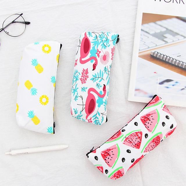 1pcs Flamingos Doodle School Supplies Pencil Case Kawaii Student Cosmetic Bag For Women Office