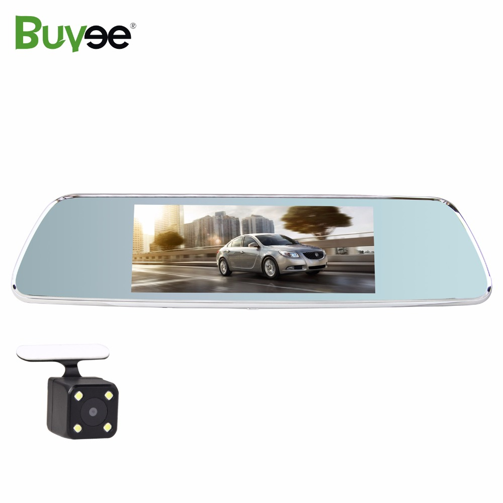 Buyee Wifi 7 inch 3G Car DVR Rearview Mirror Dash camera Dual lens Bluetooth GPS full HD 1080P touch screen + car rear camera hot sale android 5 0 car dvr wireless 3g wcdma b1 2100 dual lens camera rearview mirror gps navigation 7 0 ips touch screen