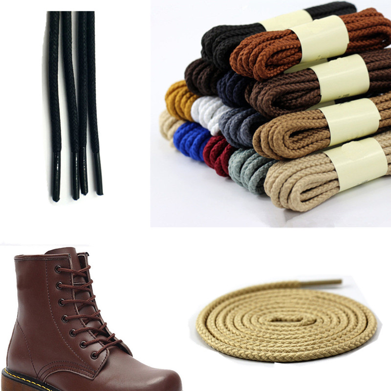 347e90d0608 Long Strong Round Shoe Laces Leather Shoelaces Bootlaces Hiking Shoe string  Rope Cord for Kids Adults Martin Boots ...
