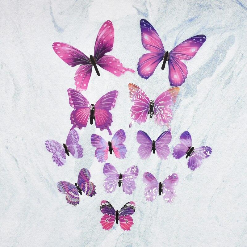 2 Bungkus 3D Cute Butterfly Stiker 12 Lembar Tas Wallpaper Anak anak Stiker Dapat Diterangi Di