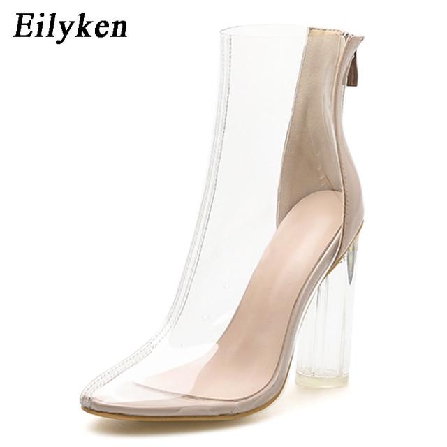 Eilyken Sexy przezroczysty przezroczysty PVC kobiety kostki buty wysokiej jakości okrągłe Toe wysokie obcasy wiosna/jesień zamek buty rozmiar 35-42