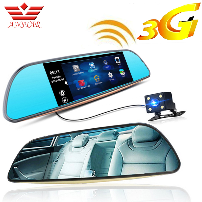 imágenes para Anstar 3g fhd coche dvr cámara grabadora de vídeo gps android 5.0 Bluetooth FM WIFI Videocámara Dash Cam Dvr de Doble Lente de Espejo Retrovisor