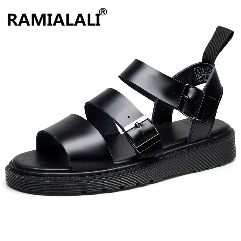 Ramialali Men Sandals Shoes Rubber Real-Leather Beach New-Fashion Non-Slip Cow