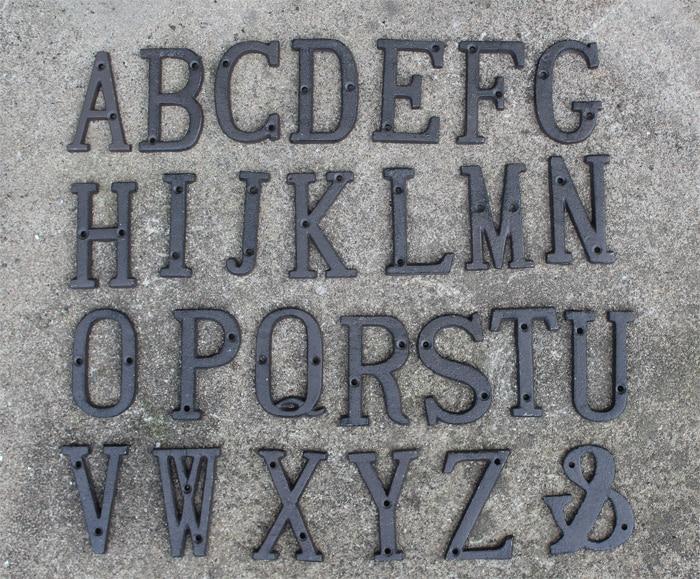 40 Pieces Rustic Iron Metal Letter Alphabet A Z , 0 9 Antique Cast Iron  House