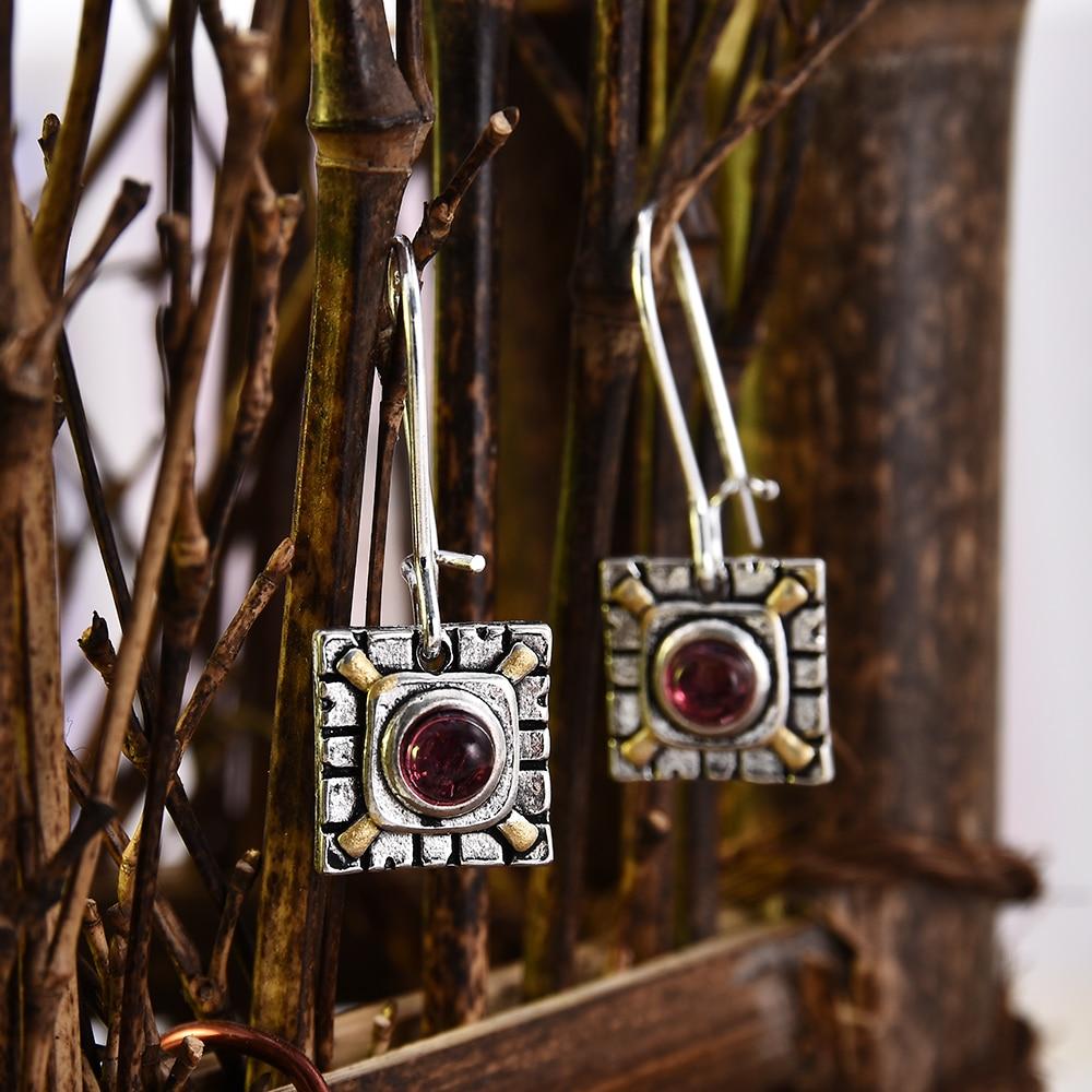Ethnic Square Retro Silver Ear Hook Women Dangle Drop Earrings Charm Sweet Red Crystal Earrings For Femme Joyería Vintage