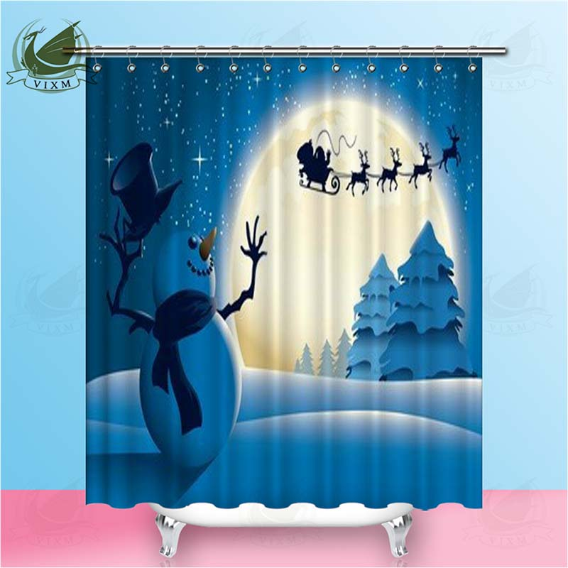 Vixm Happy Snowman Waving To Santa Sleigh Shower Curtains Polyester Fabric Curtains For Home Decor