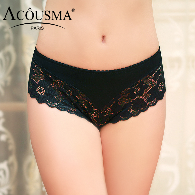 ACOUSMA Sexy Briefs Women Lace Hollow Out Floral Patchwork Panties Seamless Breathable Soft Cotton Crotch Underwear 5 Colors