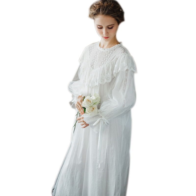 0700cef54d Women Ladies Victorian Style Long Sleeve Vintage White Solid Lace Nightgown  Plus Size Sleepwear Lingerie Dress