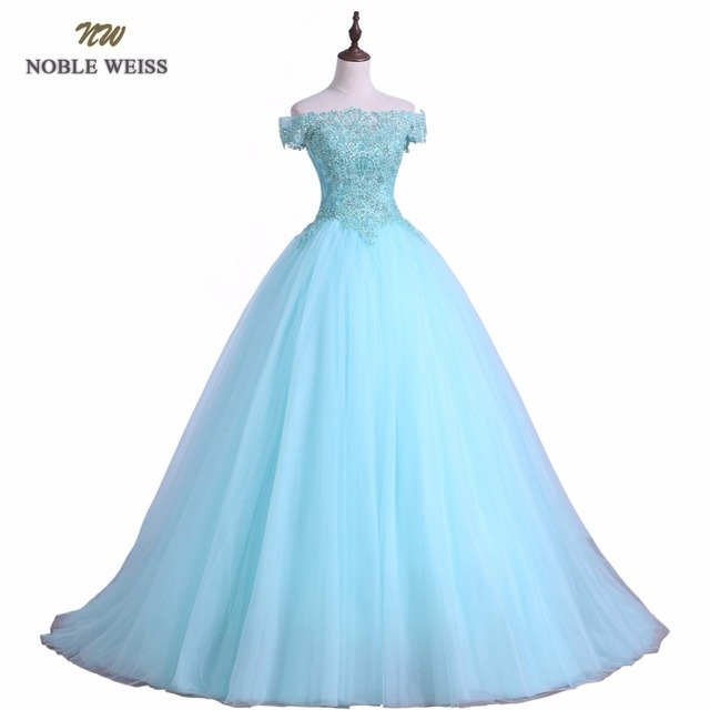 NOBLE WEISS Ball Gown Quinceanera Dress Sky Blue Tulle Appliques Beaded Bodice Prom Party Dress Sexy Long Quinceanera Gown