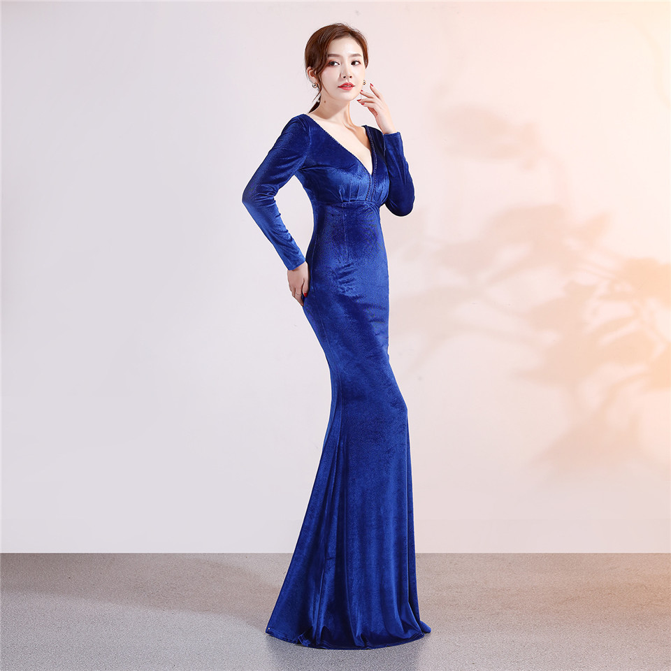 It's Yiiya Evening dresses Sequined Full sleeves V-neck Elegant Party Gowns Beading Floor-length Royal Trumpet Prom dress C175