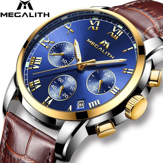 MEGALITH часы для мужчин спортивные водостойкие Дата Аналоговый кварцевые мужские часы хронограф бизнес часы для мужчин Relogio Masculino