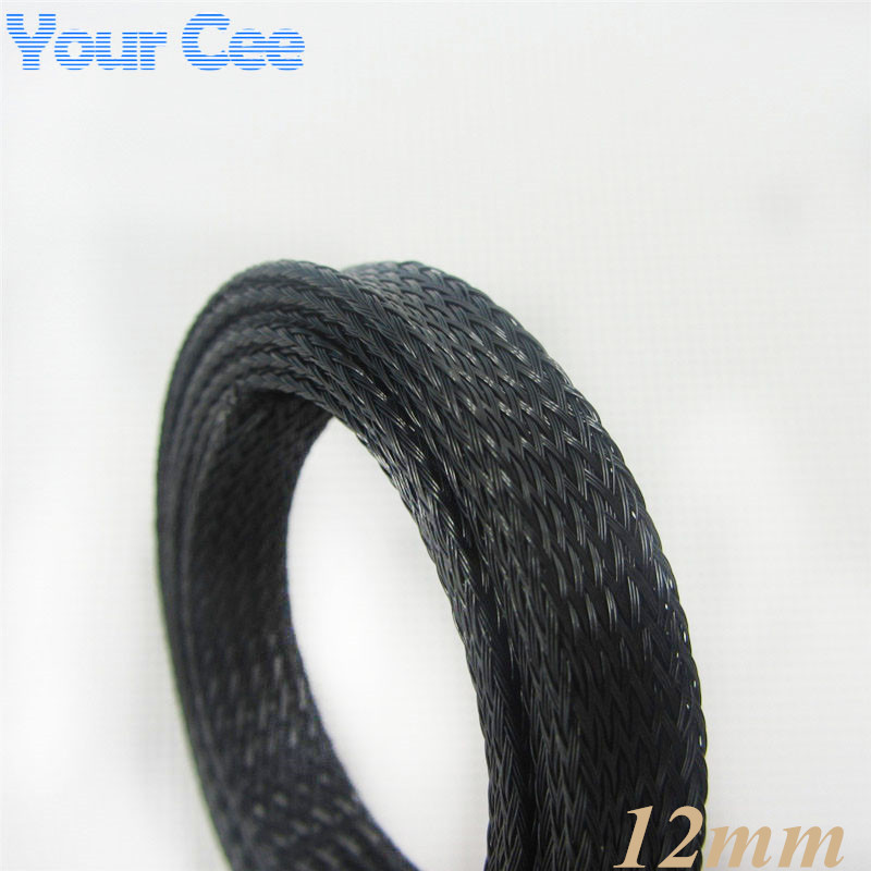 !! 1M Sheathing Auto Wire Harnessing Nylon Braided Cable Sleeving 12MM Black