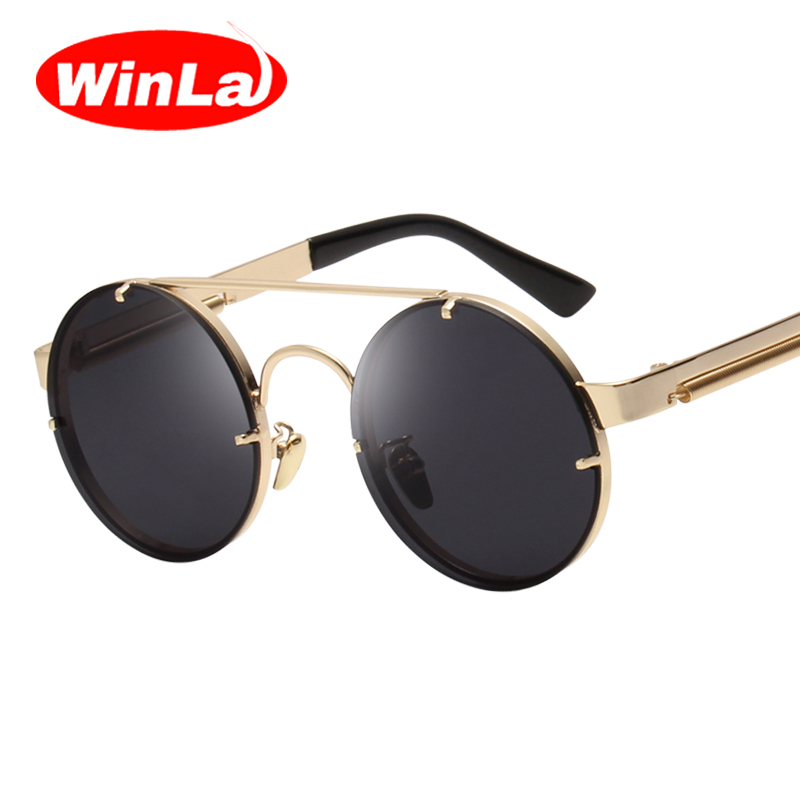 Winla Vintage Steampunk Sunglasses Men Goggles Round Sunglasses Women Brand Design Metal Frame Twin-Beams Glasses Mirror Shades