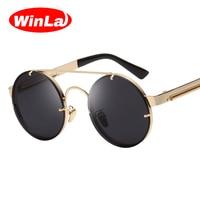 Winla Vintage Steampunk Sunglasses Men Goggles Round Sunglasses Women Brand Design Metal Frame Twin Beams Glasses