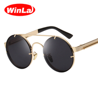 Winla Vintage Steampunk Sunglasses Men Goggles Round Sunglasses Women Brand Design Metal Frame Twin Beams Glasses