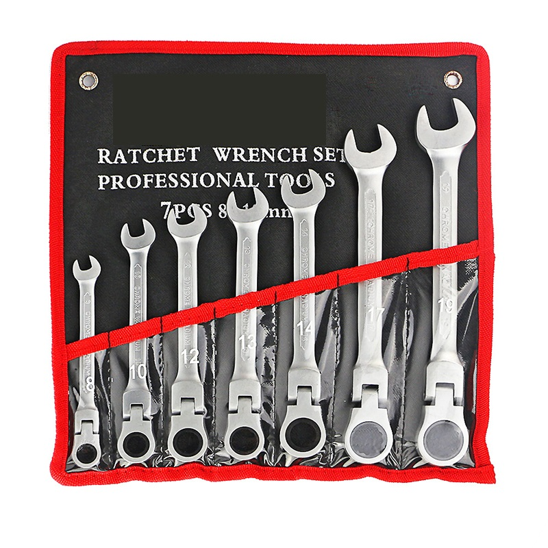 7 Pcs/Set Flexible Ratchet Wrench Set For Car Repair Tools Gear Torque Spanner Wrench Tools With Oxford Bag A Set of Keys 8-19MM 8 19mm 7pcs car wrench flexible head ratchet wrench for car repair tool set torque wrench spanner a set of keys tool ratchet