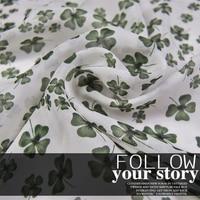 LEO&LIN Four leaf grass white 100% silk chiffon scarf spring and summer dress fabric Baotou (1 meter)